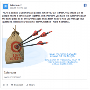 Intercom Facebook Ad Example