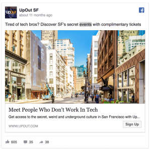 UpOut SF Facebook Ad Example
