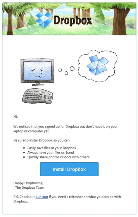 Dropbox Website Inactivity email